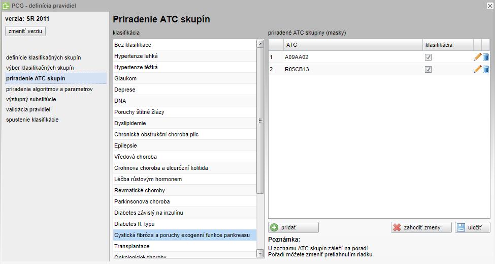Rozhraní informačního systému pro modelování různých verzí pravidel PCG klasifikace.
