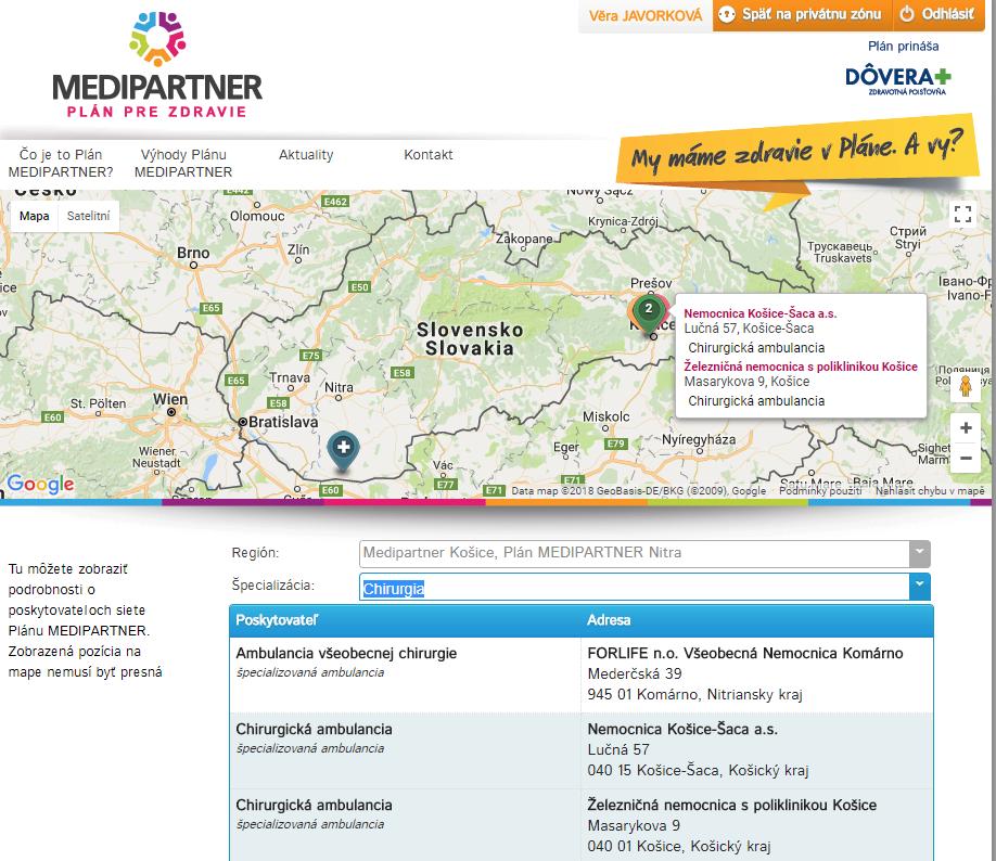 Informace o síti Plánu MEDIPARTNER® (koncept Preferred Provider Organization) na portálu pro veřejnost a klienty.